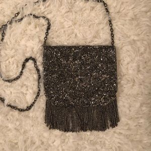 Vintage silver bead and chain purse